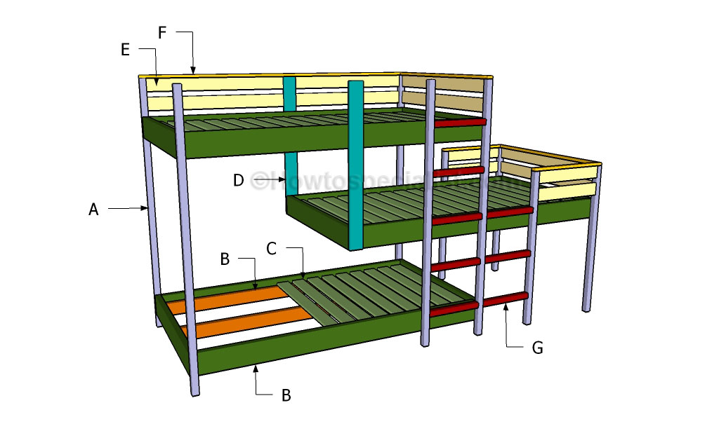DIY Triple Corner Bunk Bed Plans Download twin bunk murphy bed plans ...