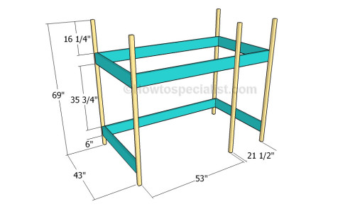 Building the frame of the loft bed