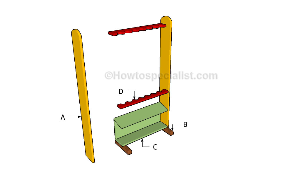 How to build a fishing rod rack howtospecialist how to for How to make a fishing pole holder