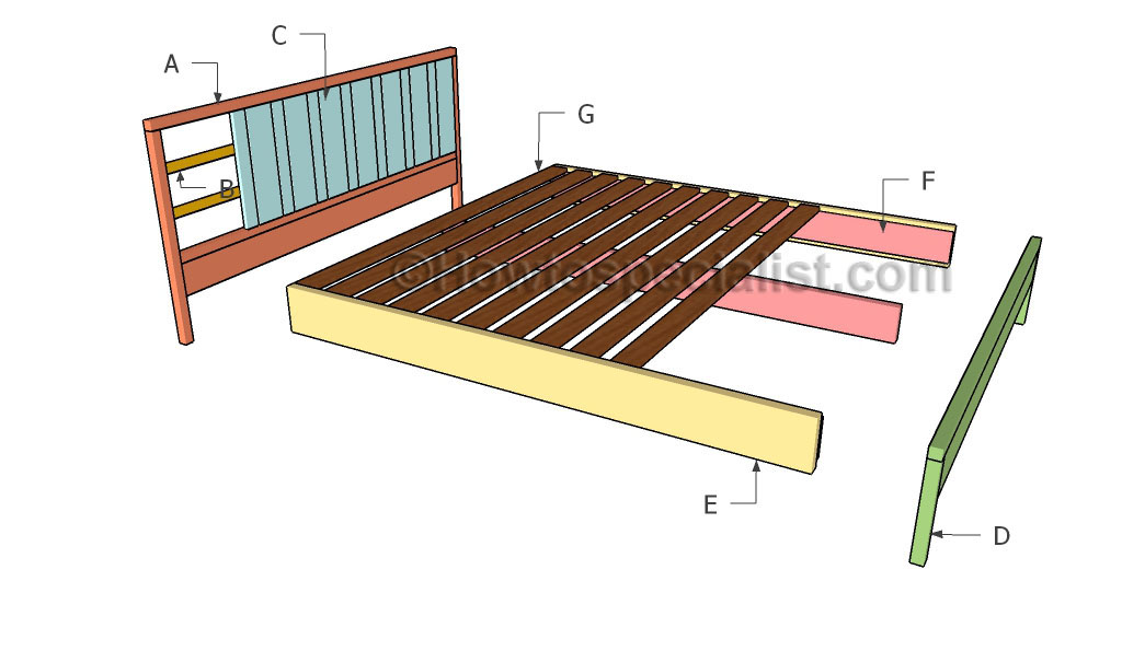 King platform bed plans | HowToSpecialist - How to Build, Step by Step DIY Plans