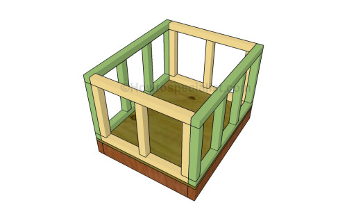 Assembling the frame of the dog house