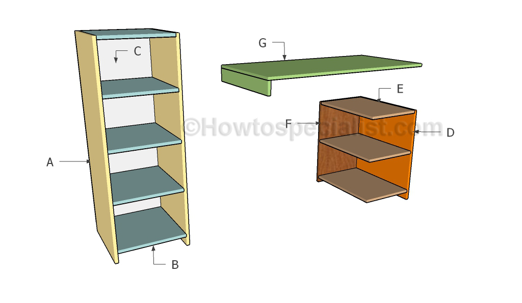 Desk with storage plans | HowToSpecialist - How to Build, Step by Step