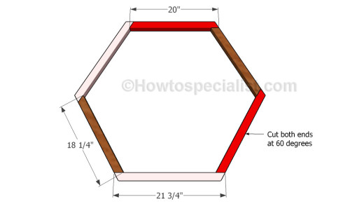 How to build a hexagon planter howtospecialist how to for Hexagon deck plans