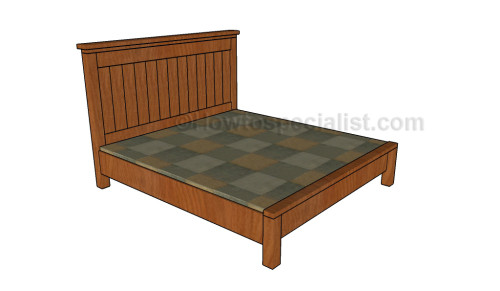 Farmhouse bed plans howtospecialist how to build step for Farmhouse bed frame plans