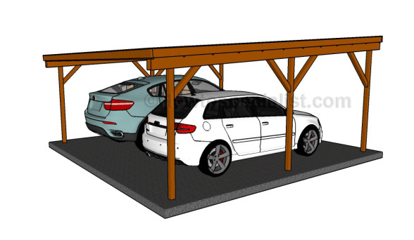 flat roof double carport plans howtospecialist how to build step by step diy plans. Black Bedroom Furniture Sets. Home Design Ideas
