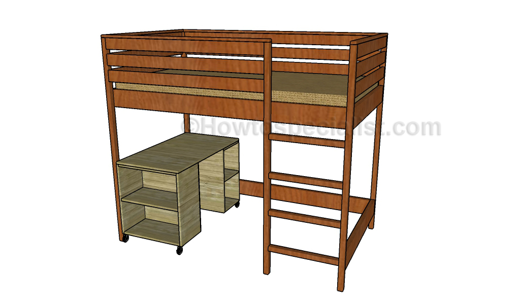 Loft bed with desk plans | HowToSpecialist - How to Build, Step by ...