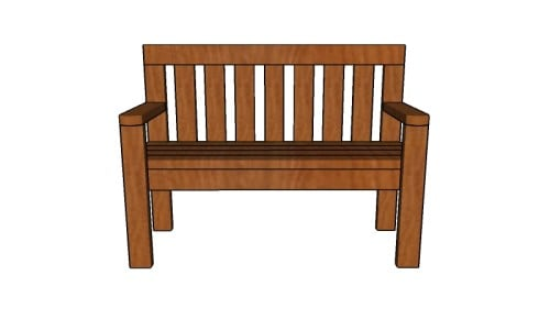 Outdoor bench with backrest