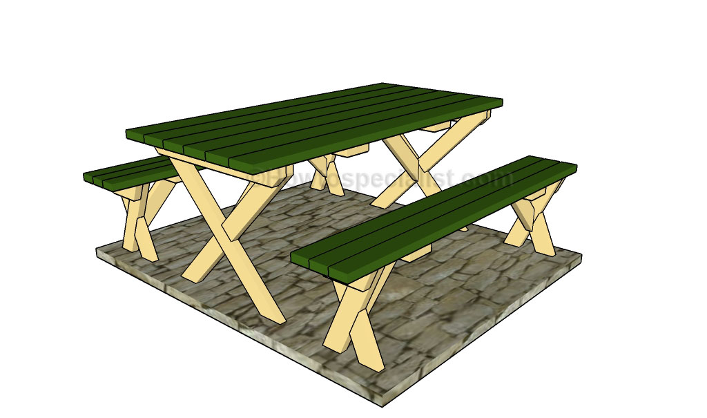instructions on how to build a picnic table with separate benches ...
