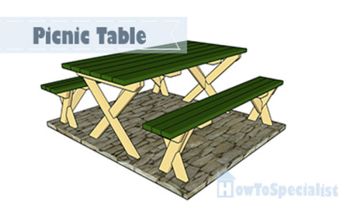 Picnic-table-with-benches-plans