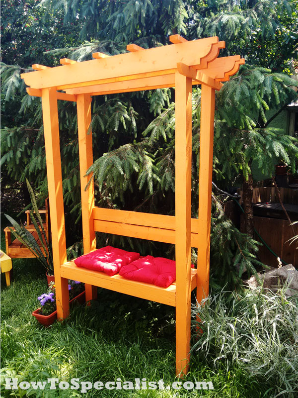 how to build a garden arbor with bench howtospecialist