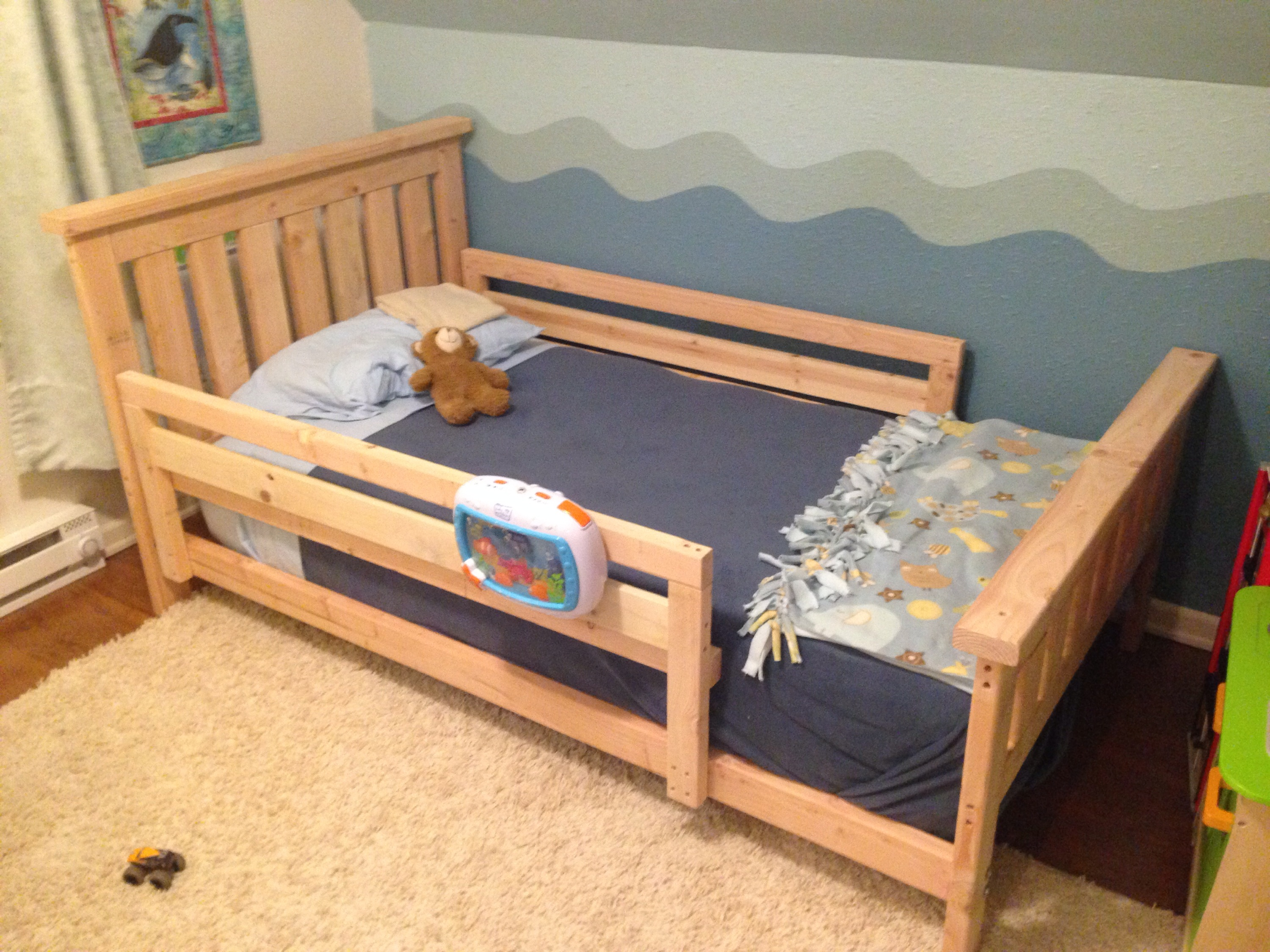 Popular I used eight foot boards and two foot boards One modification I made to the bed bed frame plans is to add a toddler rail to prevent the