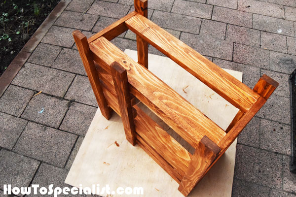 Staining-the-doll-bed