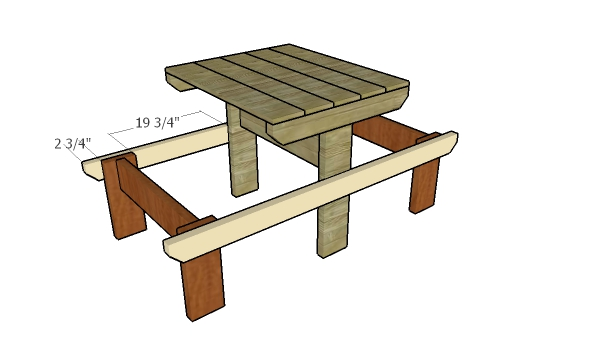 Assembling the 2 person picnic table