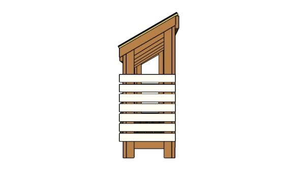 Wood storage shed - Side View