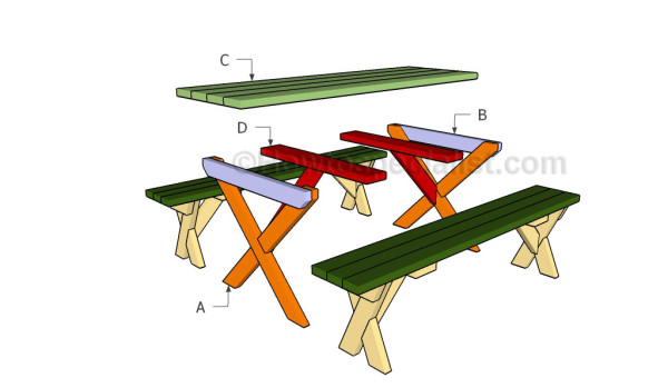 How to build a picnic table with separate benches ...